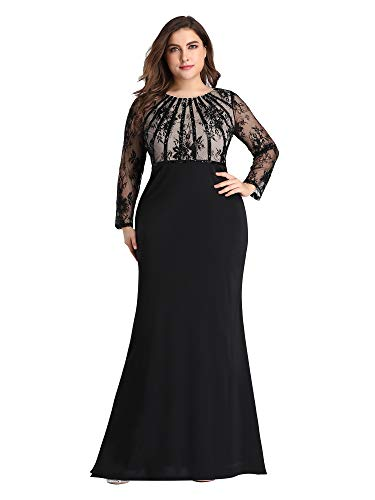Women's Long Sleeve See-Through Evening Party Maxi Dress Plus Size Black US14