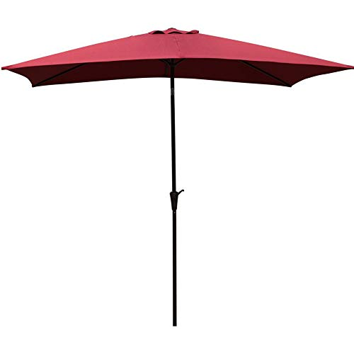 COBANA Rectangular Patio Umbrella, Outdoor Table Market Umbrella with Push Button Tilt/Crank, 6.6′ by9.8′, Burgundy