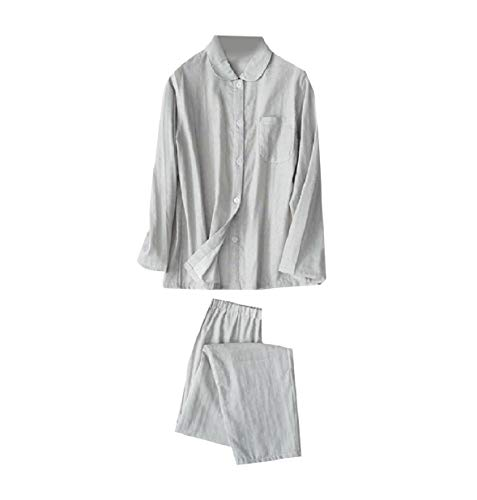 Sebaby Women Polka Dot Print Long-Sleeve Cotton Lounger Pajama Sleep Set Grey M