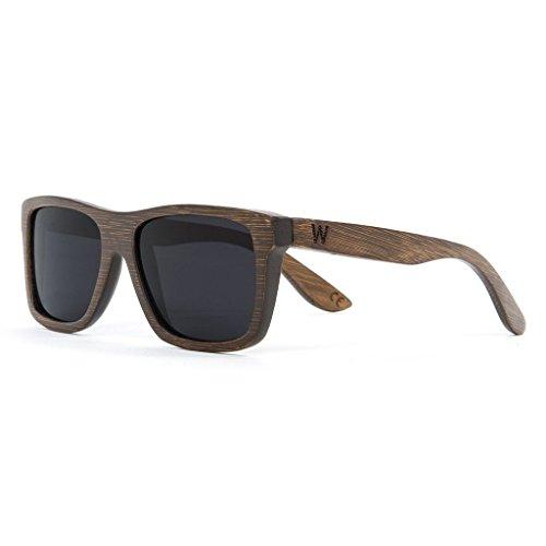 [Bamboo Wood Sunglasses with a Natural Rectangular Frame - Woodzee Trinity] (Trinity Glasses)