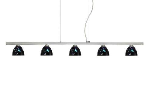 Besa Lighting 5LP-1858VB-SN 5X40W G9 Divi Pendant with Black Dicro Vine Glass, Satin Nickel Finish