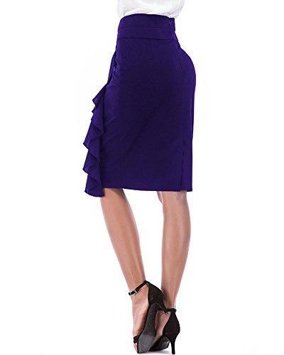 pour Bodycon PengGengA lasticit Ruffle Jupe Droite Genou Jupe Midi Slim Bleu Femmes Au Violet Crayon Jupe wwqpBxT7z