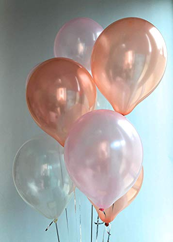 12 3.2 Helium Quality Pearl Latex Balloons - Pearl White, Light Pink and Rose Gold. Perfect for Birthday Parties, Baby Shower &1st Birthday, Sweet Sixteen & Bridal Shower and More -100 Count.