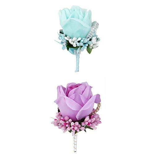 - 2x Wedding Bouquet Groom Tuxedo Crystal Rose Brooch Pin Silk Flower Corsage