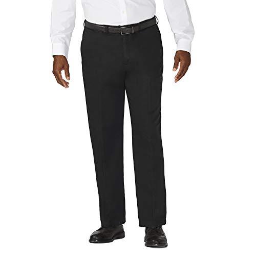 Haggar Men's Big-Tall Work to Weekend Hidden Expandable Waist Plain Front Pant,Black,46x32