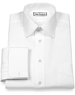 Men's Pinpoint Varsity Spread French Cuff Dress Shirt