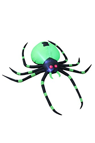 BZB Goods 6 Foot Long Halloween Inflatable Black Green Spider LED Lights Decor Outdoor Indoor Holiday Decorations, Blow up Lighted Yard Decor, Giant Lawn Inflatables Home Family Outside by BZB Goods (Image #1)
