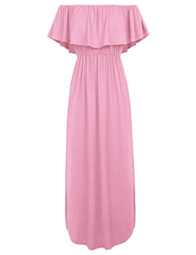 GRACE KARIN Womens Off The Shoulder Ruffle Party Summer Dresses Maxi Dress