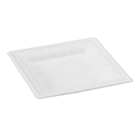 Nature's Party Square Sugarcane Square Plate, 10.2 Length x 10.2 Width, White (Pack of 12) Nature' s Party 8NPAPU2626