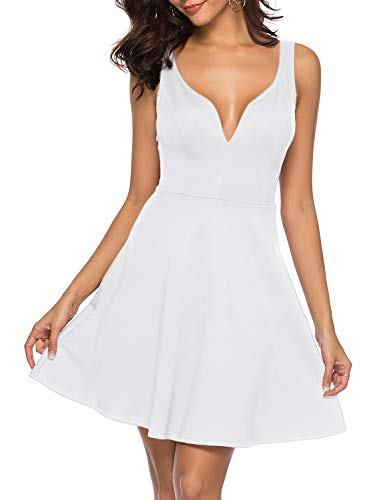(Womens Sexy V Neck Sleeveless Strappy Backless A-line Cocktail Party Skater Dress White XL)