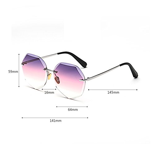 Color del Gradual poligonales Gafas Pink Moolo de de Purple Tendencia Gafas Gafas de Femenina Sol la pink Cambio Sol Marco sin Tn7BxYn