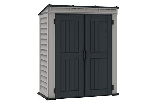 Duramax YardMate Pent Roof 5' x 3' PLUS Plastic Garden Shed with Plastic Floor - Anthracite & Adobe - 15 Years Warranty