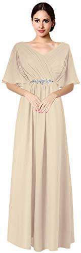 VaniaDress Women V Neck Half Sleeveles Long Evening Dress Formal Gowns V265LF Champagne US26W from Vania Dress