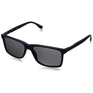 BOSS by Hugo Boss Men's B0704PS Polarized Rectangular Sunglasses, Blue Ruthenium & Smoke Polarized, 57 mm