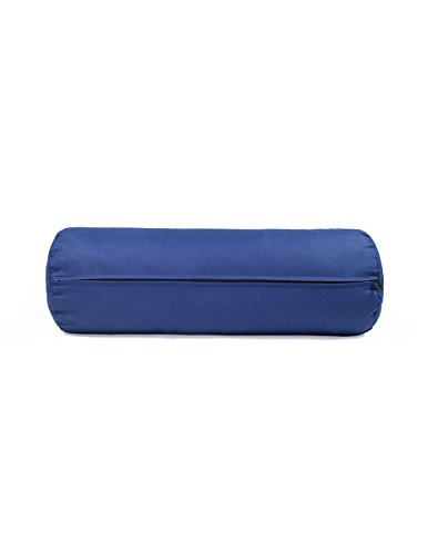 "10"" X 29"" Round Yoga Bolster - Removable Canvas Cover, Natural Cotton Filler, Navy Blue"