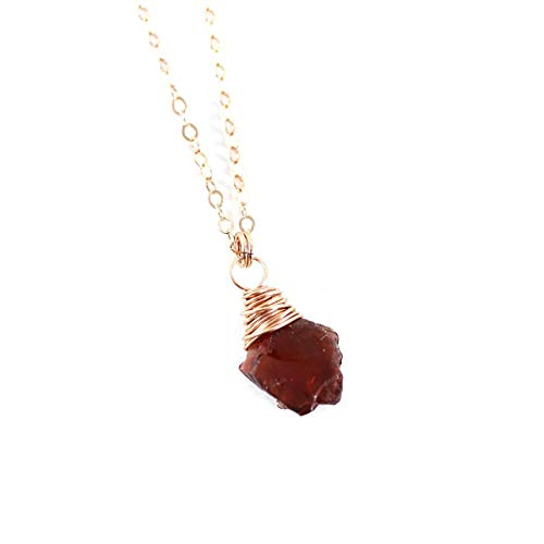 (Raw Red Garnet Rose Gold Fill Gemstone Necklace - 18