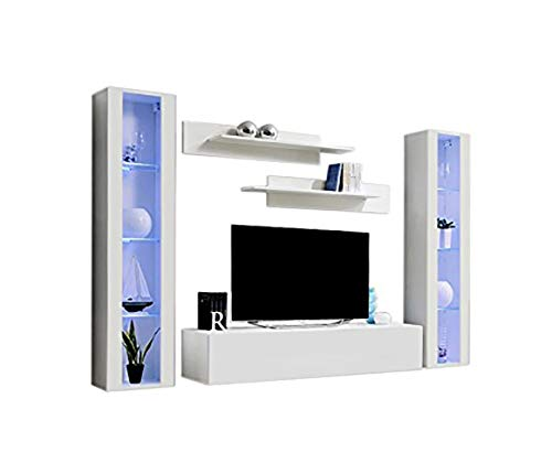 MEBLE FURNITURE & RUGS Floating Modern Wall Mounted Entertainment Center