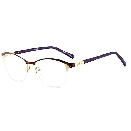 Eyewear Frames-OCCI CHIARI-Fashion Metal Gold Optical Non-Prescription Eyeglasses For Women (A -Brown/Purple)