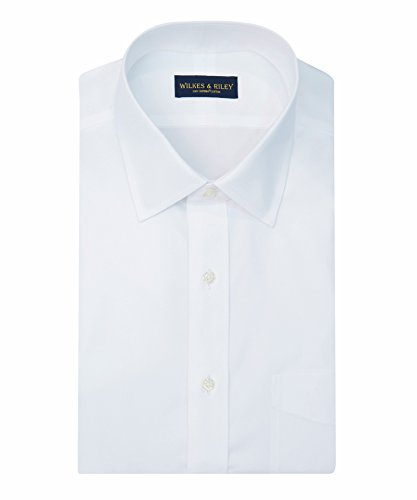 Wilkes & Riley Classic Non-Iron White Spread Collar Pinpoint Dress (Non Iron Spread Collar Oxfords)
