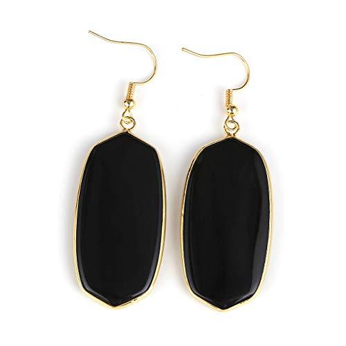 Black Water Drop - Top Plaza Womens Fashion Natural Gemstone Oval Rhombus Ear Hook Water Drop Ear Pendant Dangle Earring(Black Agate)