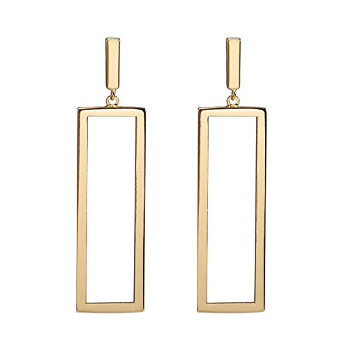 FAMARINE Gold Rectangle Geometric Drop Dangle Earrings for Women Girls Fashion Prom Jewelry ()
