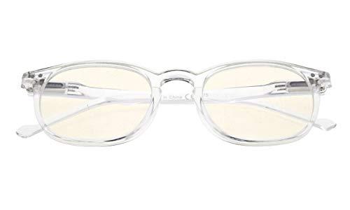 Reduce Eyestrain,Anti Blue Rays,UV Protection,Unisex Computer Reading Glasses(Clear,Amber Tinted Lenses) +2.5