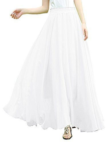 kle Length Pleated Maxi Chiffon Long Skirt (XL, White) ()