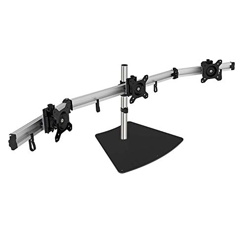 SIIG Premium Aluminum Triple Monitor Stand - Adjustable Height 3 Monitors 13 to 27 17.6 lbs Each VESA 75 and 100 Compatible Full Motion (CE-MT2111-S1)