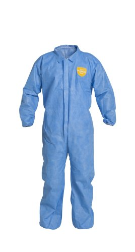 DuPont ProShield 10 PB125S Protective Coverall with Serged Seams, Disposable, Elastic Cuff and Ankles, X-Large, Blue (Pack of 25)