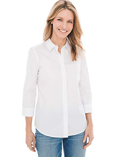 (Chico's Women's No-Iron Cotton Stain Shield Shirt Size 8 M (1) White)