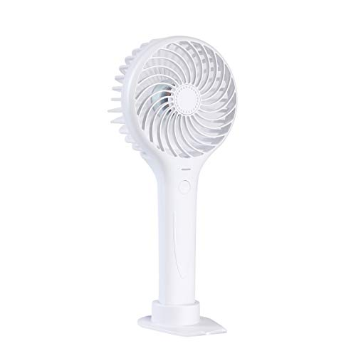 (Honsdom 2500mAh Battery Mini Handheld Fan Rechargeable Battery Operated Face Fan Outdoor Portable USB Fans Adjustable 3 Speeds for Office Room Outdoor Household Traveling-White)