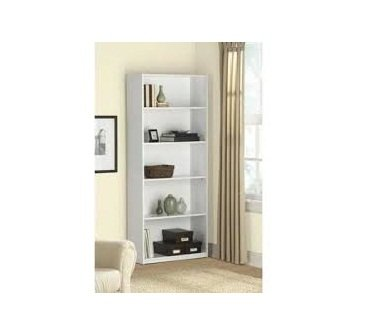Mainstay 5 Shelf Wood Bookcase White