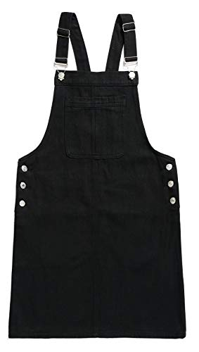(Women's Casual Adjustable Straps A-line Bib Pocket Denim Pinafore Overall Dress (Medium, Black))