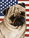 "Pug Fawn by Tamara Burnett Patriotic II Garden Dog Breed Flag 12"" x 17″"