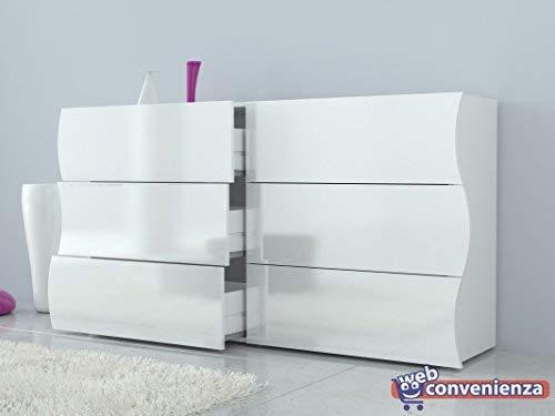 Legno Web Convenienza Com/ò 6 cassetti Bianco Laccato Lucido