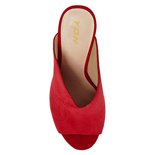 Toe Chunky Slip Pumps Red Peep High Vcut Casual Mules on Heel YDN Women Shoes with wYqE4pBqT