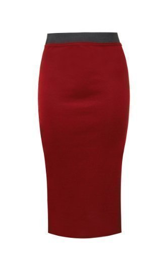 Amber Apparel DAMES Uni bureau moulante extensible Jupe crayon GRANDES TAILLES 8-22 Rouge