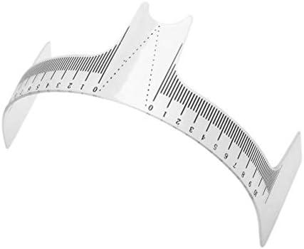 Healifty 1ピースプラスチック眉定規半透明タトゥーパーマネント鼻位置決めラジアン定規