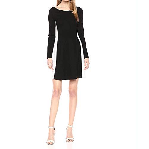 Mayunn Women's Fashion Long Sleeve Contrast Black and White Stitching Slim Slimming Dress Mini Dress Pencil Dress (S-3XL) (Led Tv Slim Wall Mount)