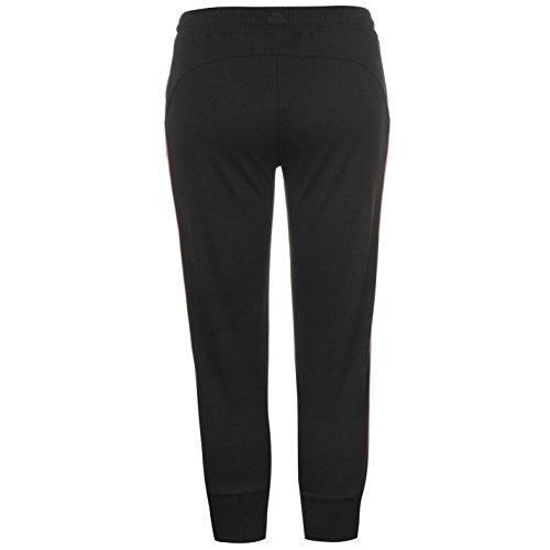 Lonsdale Mujer Tres Cuartos Logo Joggings Fondo Pantalones Ropa Deporte Negro/Rosa