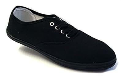 Shoes 18 Womens Canvas Shoes Lace up Sneakers 18 Colors Available (5 B(M) US, Black/Black)