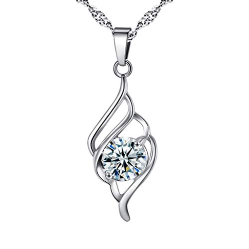 Dainty Necklace for Women, Snowfoller Imitation Diamond Faceted Clear Crystal Pendant Necklace Mirror-Polished(Silver)