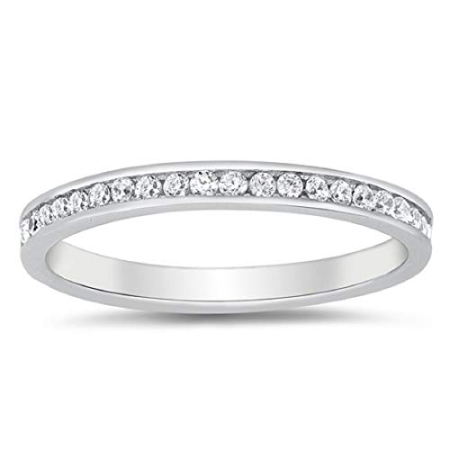 Blue Apple Co. 2mm Eternity Style Band Ring Channel Setting Round Cubic Zirconia 925 Sterling Silver Size-8