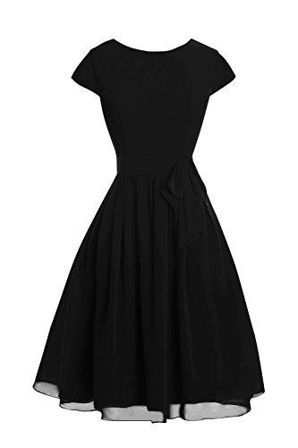 Les Femmes De Mariée Dora Et Aiguë, Robes De Mère En Mousseline De Soie Longueur De Genou Manches 2016 Noires
