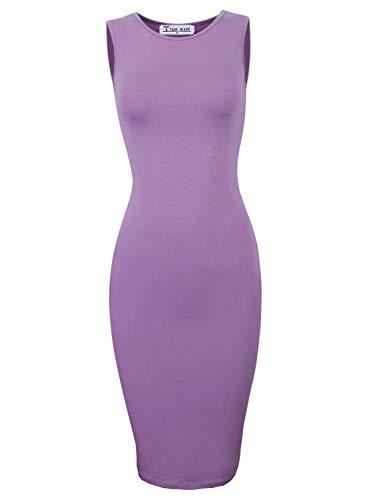 (TAM WARE Women's Classic Slim Fit Sleeveless Midi Dress TWCWD051-PURPLE-US S/M(Tag Size M))