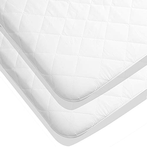 Utopia Bedding Waterproof Crib Mattress Protector - Quilted Crib Fitted - Cradle Mattress Pad(2-Pack) (Cradle Pad Mattress)