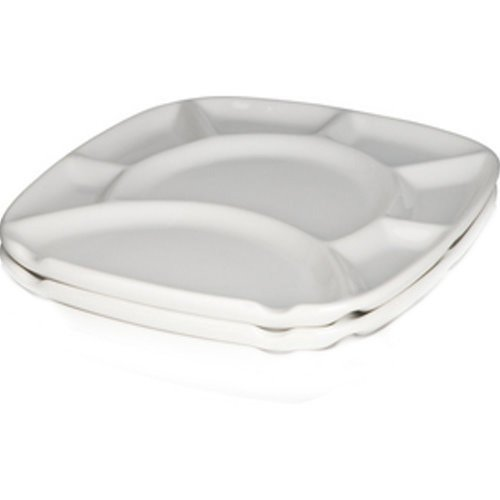 Trudeau White Stoare Square Fondue Plates - Set of 2