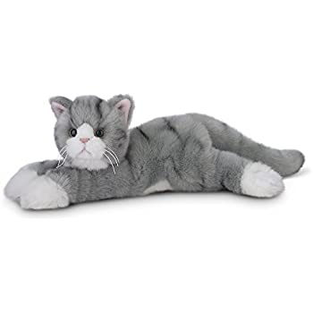 "Bearington Socks Plush Stuffed Animal Grey Striped Tabby Cat, Kitten 15"""