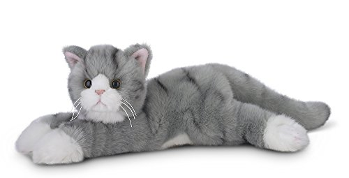 Plush Jungle Cat - Bearington Socks Plush Stuffed Animal Grey Striped Tabby Cat, Kitten 15""