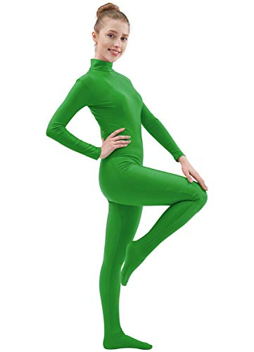 Ensnovo Womens Lycra Spandex Zentai Suits One Piece Footed Unitard Green,S -